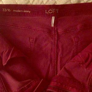 LOFT Modern Skinny Corduroy Pants in Cabernet Red